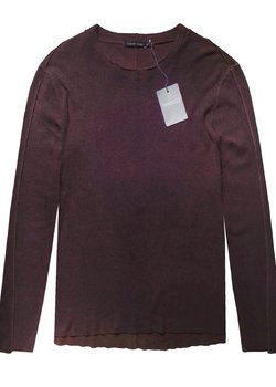 TRANSIT UOMO Felted Wool Sweater Seam Detail Burgundy S-M