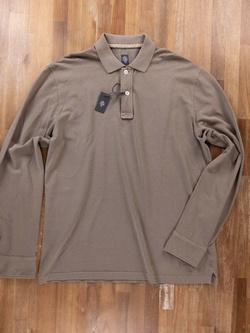 ELEVENTY sand color long sleeve cotton polo shirt - Size XL - NWT