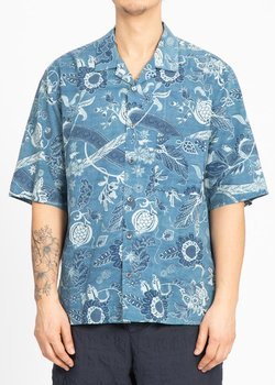 SK Manor Hill Indigo Floral Camp Shirt, BNWT