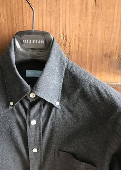 Anglo Italian Company - Button Down Collar Shirt Charcoal Brushed Cotton - Size 15