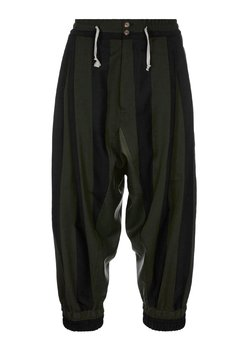 VIVIENNE WESTWOOD Macca Pleated Drop Crotch Striped Wool Pants Black/Green IT48/30-33