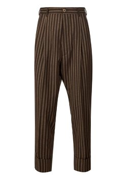 VIVIENNE WESTWOOD James Bond Tapered Pleated Striped Wool Pants Brown IT50/34