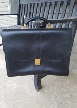 Frank Clegg Captain's Briefcase Triple Gusset in Black