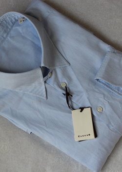 Drop! NWT Solid Light Blue Caruso Dress Shirt 18 / 45| Made in Italy