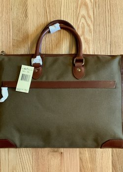 Polo Ralph Lauren Olive Brown Canvas and Leather Briefcase