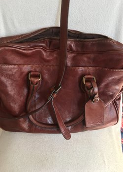 FS Massimo Dutti Brown Leather briefcase