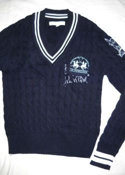LA MARTINA mens navy blue knitted V-neck sweater jumper S