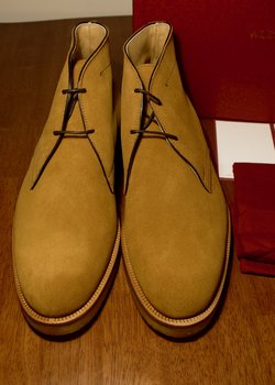 NIB Alexander 1910 Goodyear Welted Wood Brown Suede Chukka Boots UK8/US9