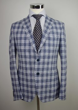 NWT CANTARELLI HANDMADE BLUE PLAID WOOL LINEN SILK BLEND BLAZER US38 40/EU50