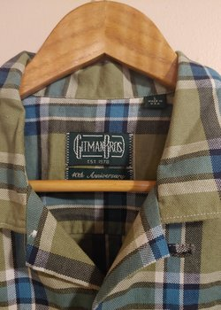 Gitman Vintage Olive Plaid Hopsack Camp Shirt - NWT