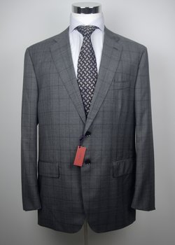"NWT ISAIA ""GREGORIO"" HANDMADE GRAY GLEN PLAID SUPER 120'S WOOL SUIT US46"