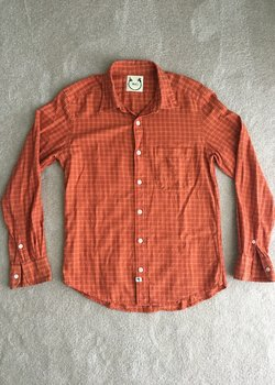 Wolf vs. Goat Orange Check Button Down - Medium