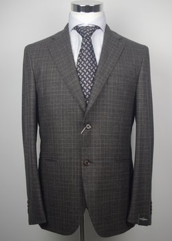 NWT MICHELANGELO NAPOLI BY ISAIA HANDMADE BROWN-GRAY GLEN PLAID FLANNEL WOOL SUIT EU50 52/US40 42 44