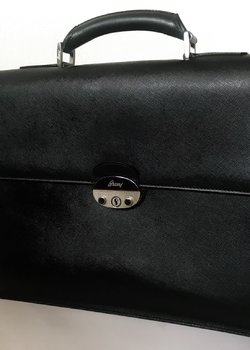 Sold Brioni Black Leather Briefcase Bag