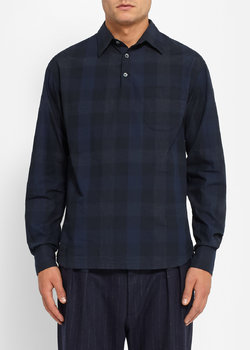 BARENA - Black Check Cotton Poplin Shirt - 48/38