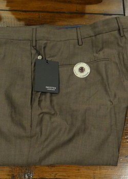 PRICE DROP! NWT Incotex Wool/Cotton Light Brown Flat Front Trousers Sizes 34 & 38 Retail $375