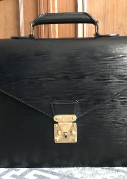 Sold Louis Vuitton Black Epi Leather Ambassador Briefcase