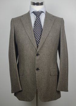 NWT D'AVENZA ENTIRELY HANDMADE BROWN HOUNDSTOOTH FLANNEL WOOL SUIT EU48
