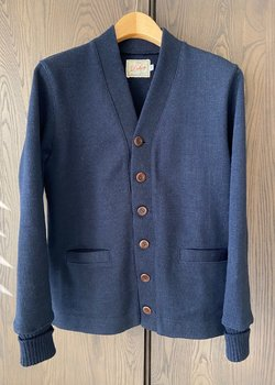 Dehen 1920 Classic Cardigan in Navy Worsted Wool