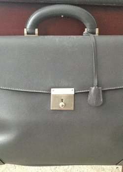 Valextra Gray Large Classic Two Gusset Briefcase