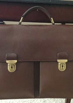 Trussardi Crespo Briefcase Two Gusset Brown Large