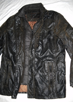 Brown vegan leather biker style German winter coat L