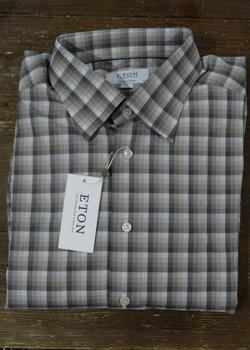 PRICE DROP! NWT Eton Contemporary Fit Brown/Grey Check Shirts Sizes 16.5 & 17 Retail $265