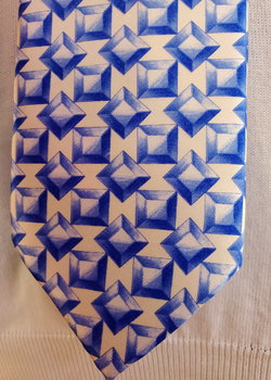 "ZILLI TIE - New - Gorgeous Blue & White Geometric Pattern - 3.75"" wide - 60"" length"