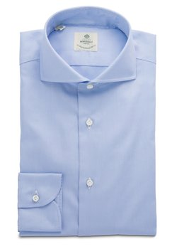 $120 NWT LUIGI BORRELLI 15R LIGHT BLUE OXFORD DRESS SHIRT HANDMADE IN ITALY