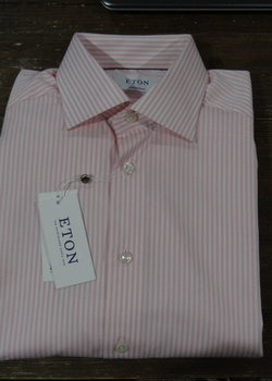 FURTHER PRICE DROP 6/6! NWT Eton Contemporary Fit Pink/White Bengal Stripe Shirts 15.5, 16.5, 17