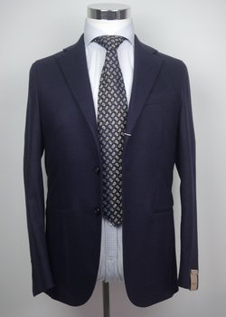 NWT SARTITUDE NAPOLI NAVY BLUE FLANNEL WOOL SUIT US36