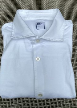 Fedeli Jason Jersey Organic Long Sleeved Polos in midnight blue & white size 52