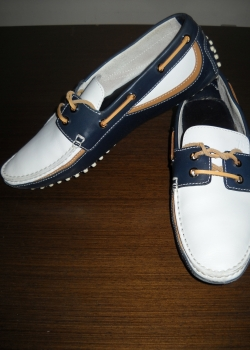 TOD'S leather white blue loafers shoes size tods 7 / 42