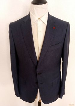 NWT ISAIA NAPOLI NAVY MICROCHECK EU 50R Drop 7 Suit RRP: $3,799