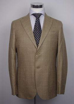 NWT LA MIGLIARA BY SARTORIA PARTENOPEA Tan Brown Fresco Wool Blazer EU50/US40