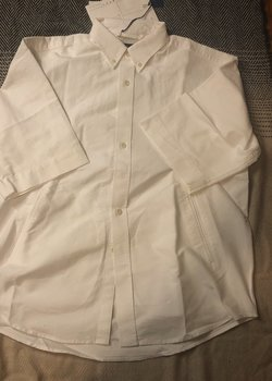 Document relaxed button down s/s oxford shirt (w side pockets) in size L