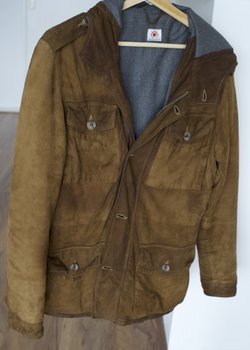 Borrelli suede leather jacket, brown, hooded. size 38 / 48