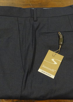 FURTHER DROP! NWT Santorelli Wool Flat Front Trousers - Navy, Med Blue, Charcoal 33, 34, 35, 36, 38