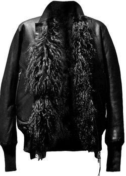 Isaac Sellam Reversible Mongolian Lamb Leather/Fur Bomber Jacket M, L