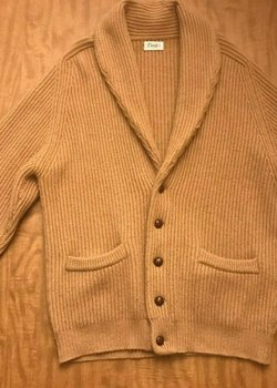 Drake's of London 100% Camel Hair Shawl Collar Cardigan
