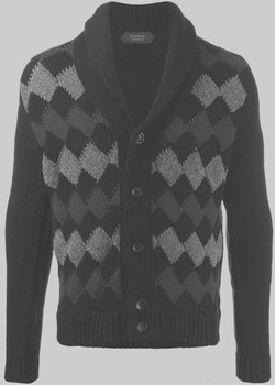 Zanone Shawl-Collar Cardigan Chunky Wool Argyle Diamond IT48/M