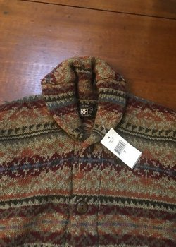 NWT RRL Ralph Lauren Fair Isle Wool Cashmere Cotton Shawl Collar Cardigan Sweater-Medium