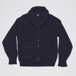 ***SOLD*** Drake's Navy Blue 4-Ply Cashmere Shawl Collar Cardigan (Size 42)