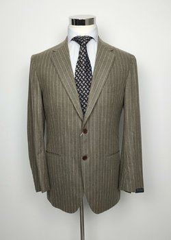 NWT SARTORIO BY KITON HANDMADE TAUPE PINSTRIPE FLANNEL WOOL SUIT US42/EU52