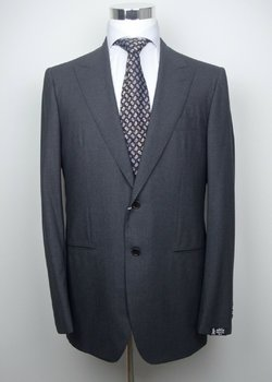 NWT KITON NAPOLI Full Handmade Dark Gray Faint Micro Check Wool Suit EU52 56