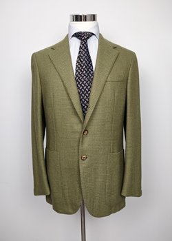 NWT SAINT ANDREWS DECONSTRUCTED OLIVE GREEN WOOL BLAZER EU50