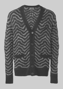 Ended | MISSONI Crochet-knit Chevron Wool Cardigan V-Neck IT52/M-XL