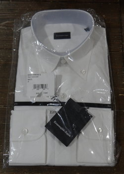 NWT Ermenegildo Zegna White Button Down Collar Shirts Size 16
