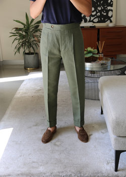 LUXIRE - Bespoke-Level New Olive Linen Trousers 31