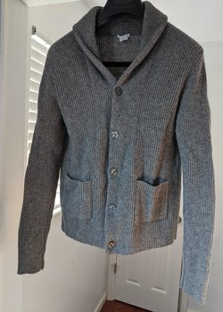 Gray Wool Shawl Collar Cardigan XS Club Monaco